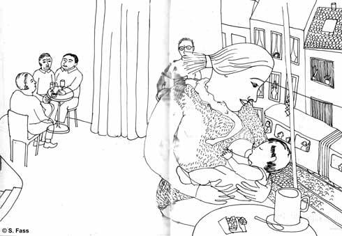 bremen, Frieda stillt ihren Sohn in der schauburg