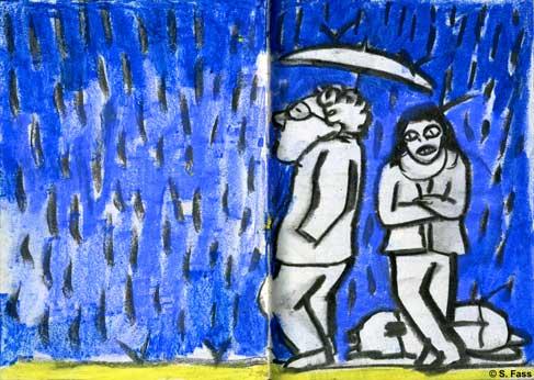 bremen. warten im regen bei der universität