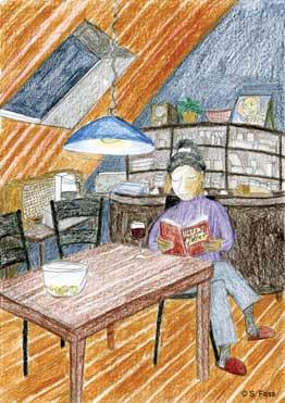 wilhelmshaven, Christa beim Lesen
