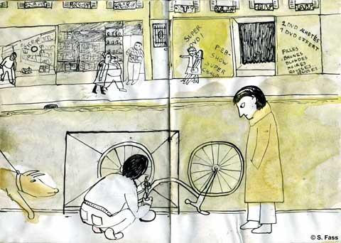 paris, Fahrrad reparieren in der rue de la gaîté, montparnasse