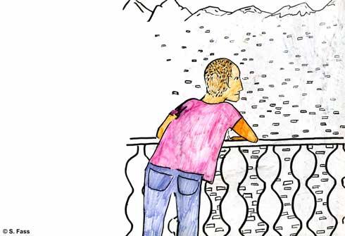 chamonix, jérémy raucht auf balkon