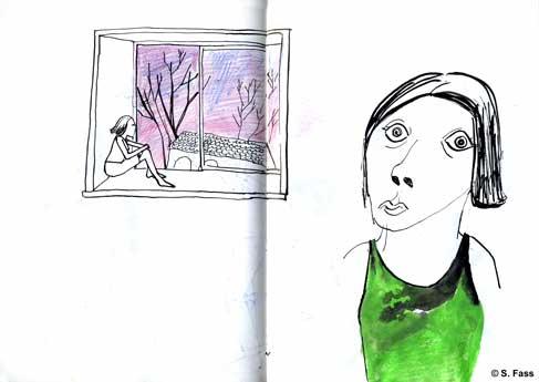 leipzig, Regina im klassenraum der illustrationsklasse der hgb leipzig