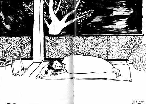 leipzig, Ute schläft auf dem Balkon in der schwägrichenstraße
