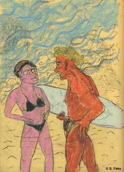 berlin karina am strand mit surfer