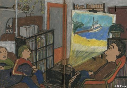 ich mache einen Diavortrag über die Brasilienreise im Wohnzimmer unserer Leipziger Wohnung
