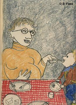 Oliviers Schwester füttert Elsa mit Gemüse in Dublin Irland