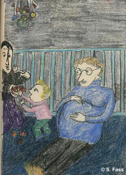 Olivier spielt mit Elsa im Kinderzimmer während seine Schwester zuschaut in Dublin Irland