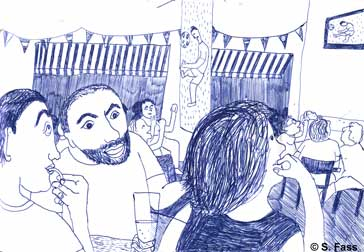in Paris Fußballweltmeisterschaft in einem Café gucken