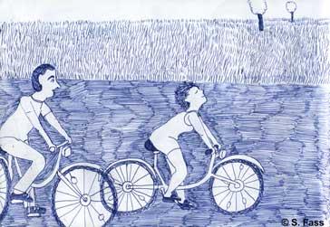in Bréal (Frankreich) fahren wir Fahrrad