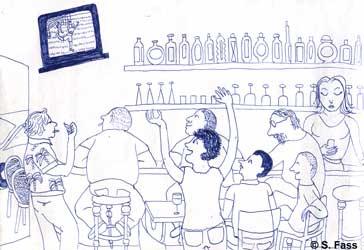 in Paris gucken wir die Fußballweltmeisterschaft in einem Café