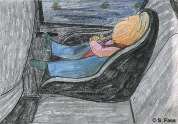 Anissia ist auch am Flughafen Kiew und schläft schon im Auto
