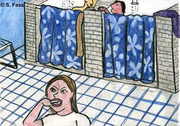 in Balaklawa (Krim/Ukraine) sind Dusche und Toiletten für beide Geschlechter