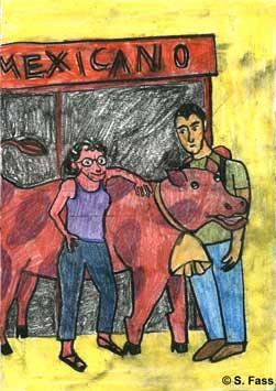 in Odessa (Ukraine) posieren Olivier und ich vor einem Mexikaner