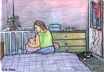 Vitalia stillt Anissia im Schlafzimmer (KIew/Ukraine)