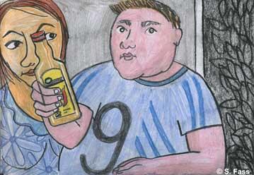 Serafim schenkt uns in Kiew Wodka ein