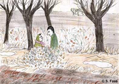 Weihnachten in Bruz (Frankreich): Olivier und ich verstecken uns hinter einem Gebüsch