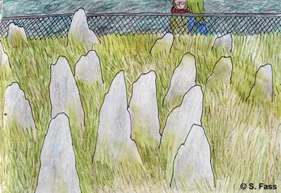 bei Quiberon in der Bretagne (Frankreich): Olivier und ich besichtigen Hinkelsteine