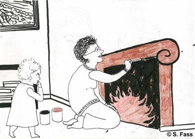 in Bruz male ich einen Kamin an die Wand