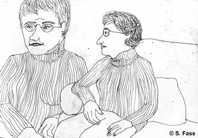Weihnachten in Bruz (Frankreich): Amelie und Françoise tragen sehr ähnliche Kleidung