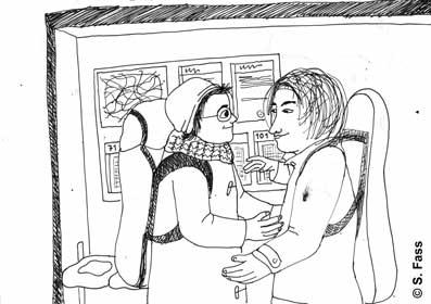 mit Niki an der Bushaltestelle in Berlin Neukölln