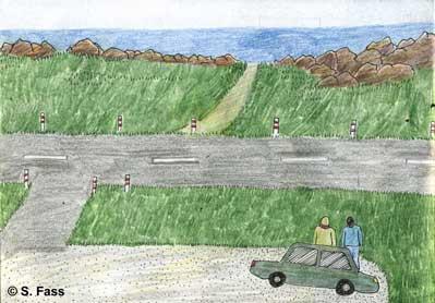 Quiberon in der Bretagne( Frankreich): Olivier und ich sitzen auf Felsen am Atlantik