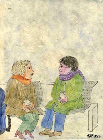 Im Gare Montparnasse auf einer Bank sitzen