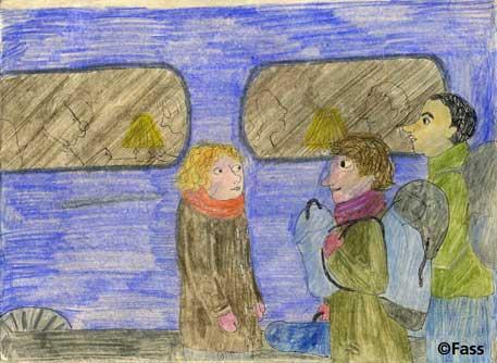 im Gare Montparnasse in den Zug einsteigen