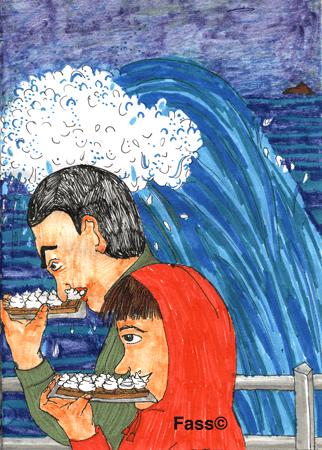 Waffeln essen vor einer großen Welle in Dinard