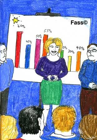 Die Chefin bei einer Angestellten-Konferenz