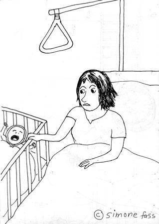 Ich kann Lou nicht aus ihrem Bett holen wegen Schmerzen nach Kaiserschnitt im Uniklinikum Leipzig