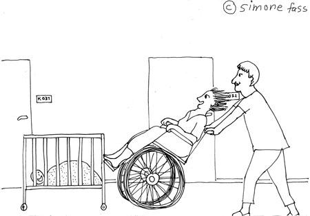 Mit dem Rollstuhl durch die Uni-Klinik Leipzig