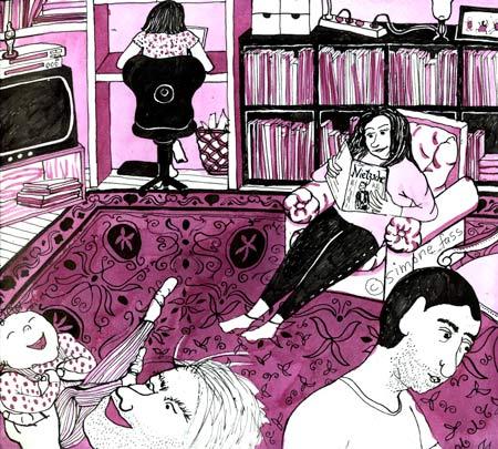 Lesen und Spaß haben im Wohnzimmer
