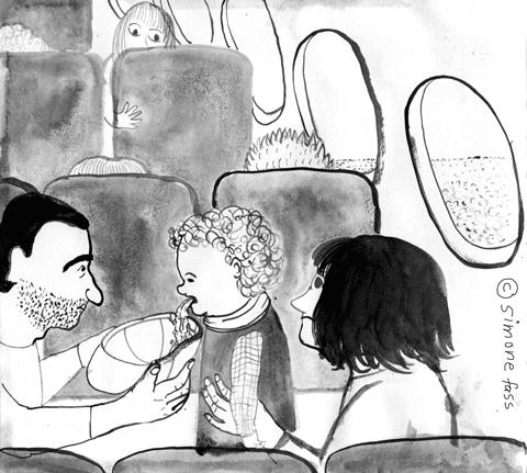 auf dem Rückwg von Dublin nach Berlin kotzt Lou im Flugzeug