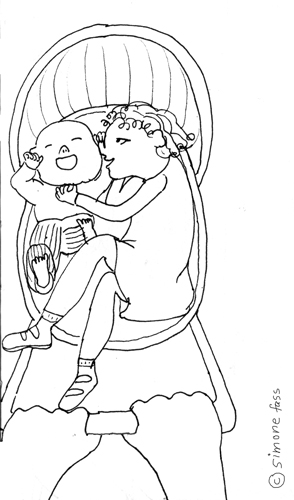 lou und paul kuscherln im kinderwagen im leipziger zoo.